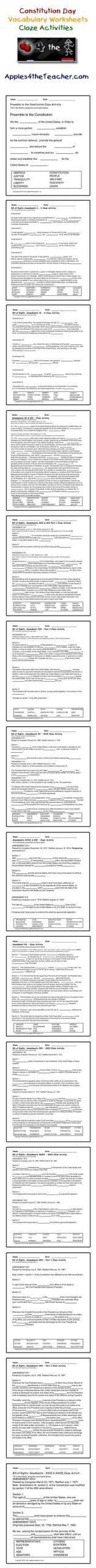Bill Of Rights Worksheet Cloze Activity Worksheets Bill Of Rights Interactive Cloze