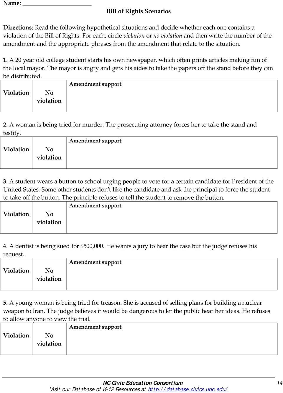 Bill Of Rights Worksheet Grade 8 Nc Civic Education Consortium 1 Visit Our Database