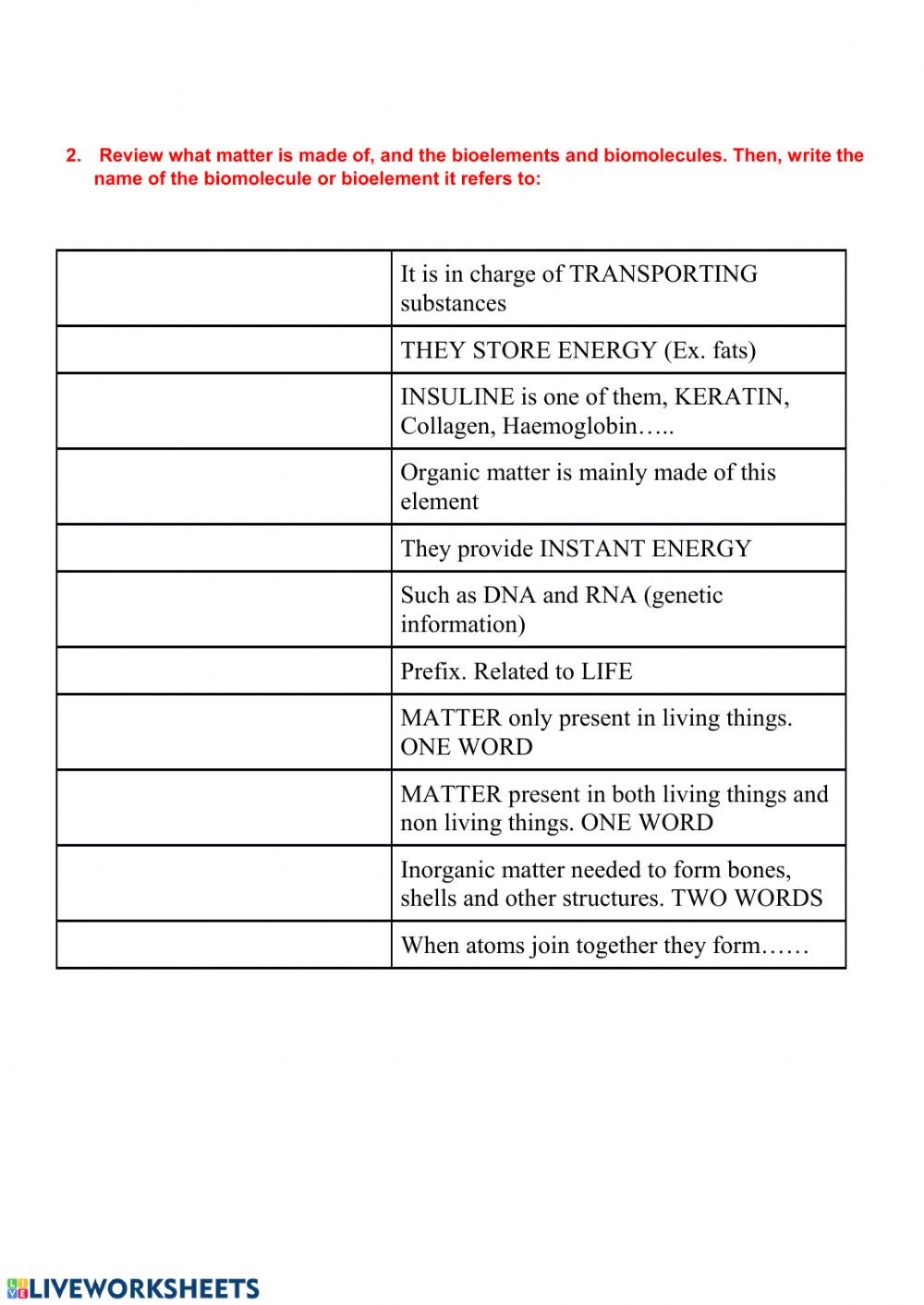 Biological Molecules Worksheet Answers Biomolecules and Cells Interactive Worksheet