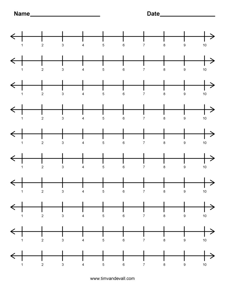 Blank Number Line Worksheet 1 10 Number Line Tim S Printables