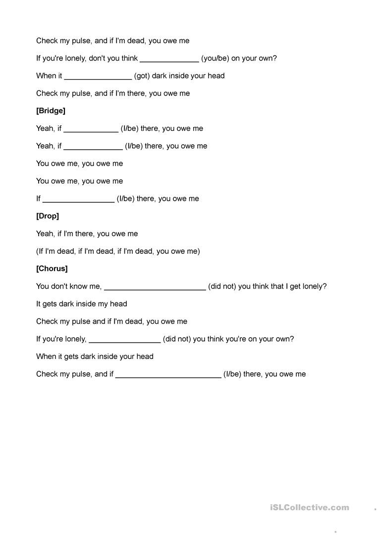 Blank Number Line Worksheet You Owe Me Fill In the Blank English Esl Worksheets for