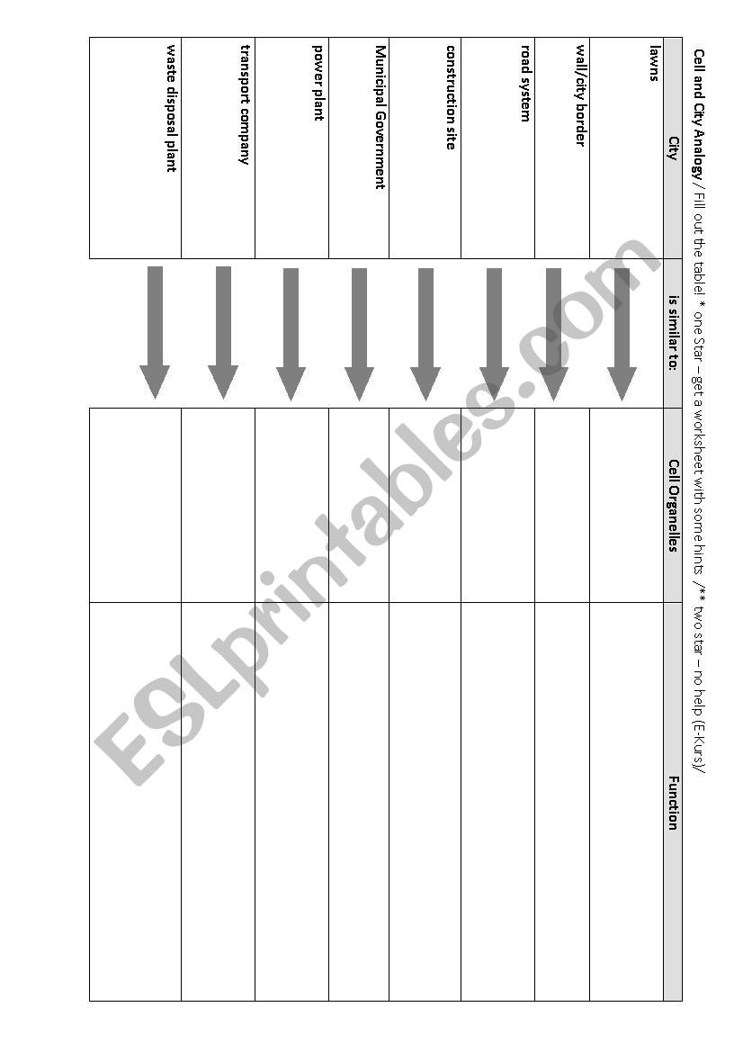 Cell City Analogy Worksheet Analogy Between A Cell and A City Esl Worksheet by Leschrim