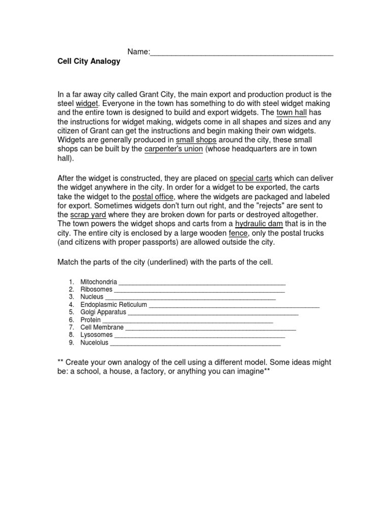 Cell City Analogy Worksheet Analogy Science Cell City