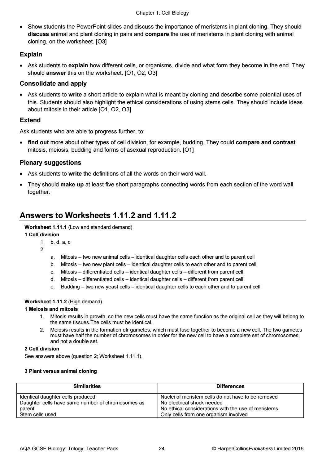 Cell Cycle Worksheet Answers Aqa Gcse 9 1 Bined Science Trilogy Teacher Pack by