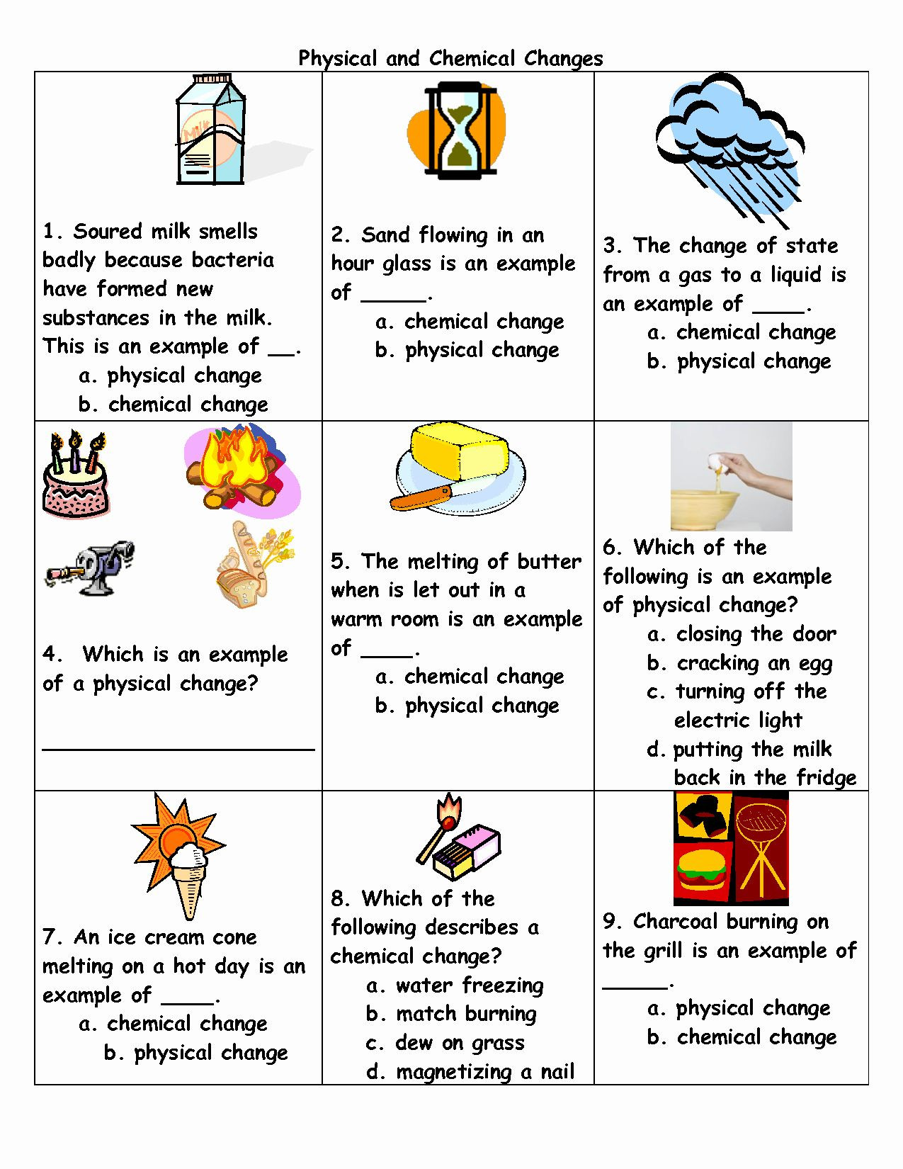 Change In Matter Worksheet 50 Physical and Chemical Change Worksheet In 2020
