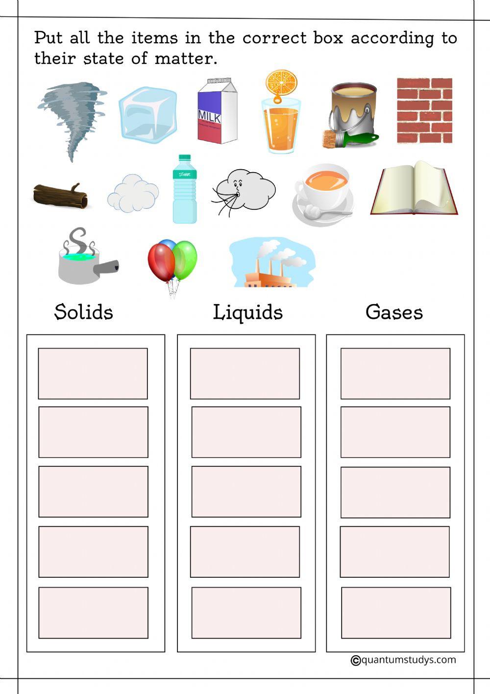 Change In Matter Worksheet Change In Matter Interactive Worksheet