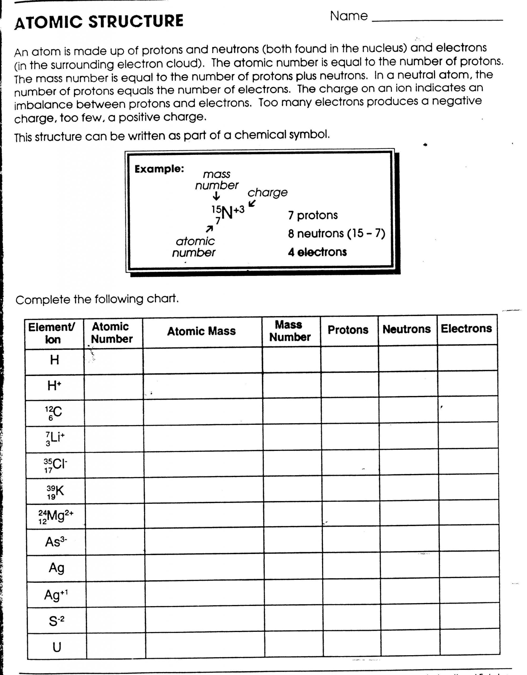 Chemistry atomic Structure Worksheet Printables atomic Structure Worksheet Gozoneguide