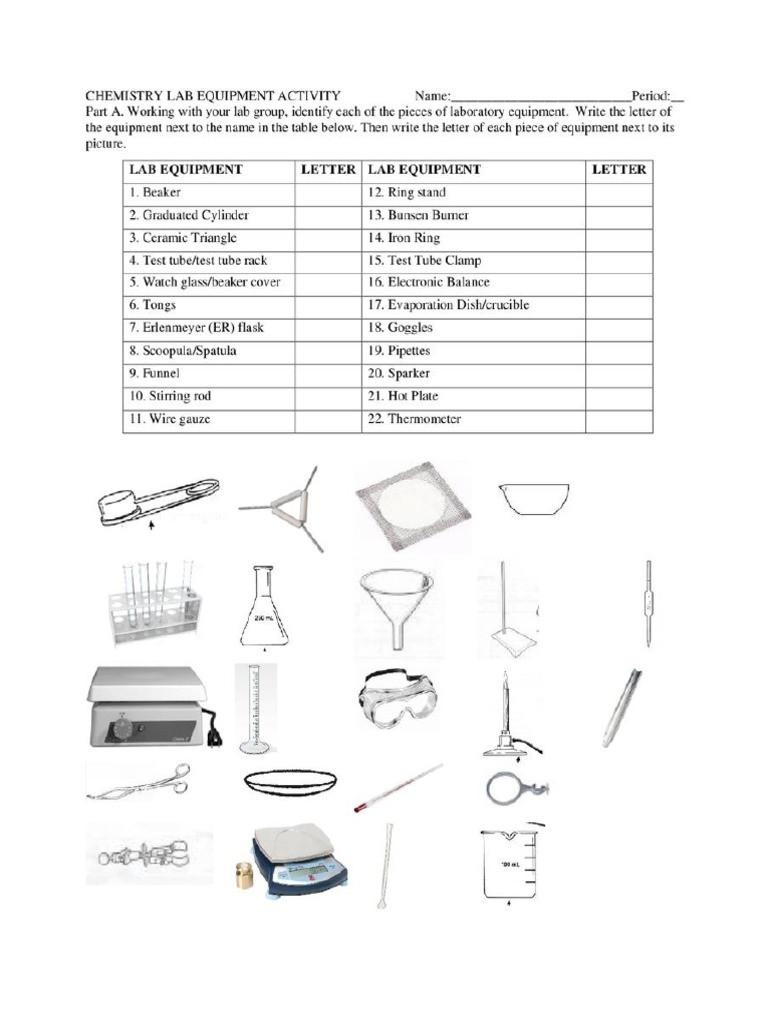 Chemistry Lab Equipment Worksheet Lab Equipment Activity