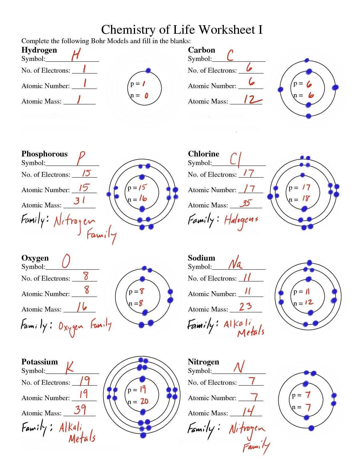 Chemistry Of Life Worksheet Bohr Model Worksheet Answers Tecnologialinstante