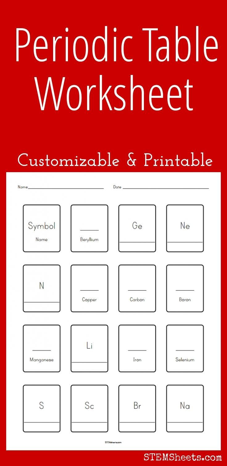 Chemistry Periodic Table Worksheet Customizable and Printable Periodic Table Worksheet