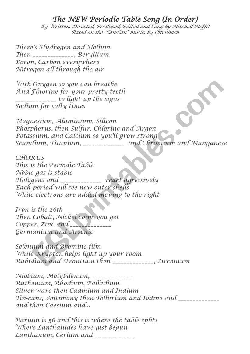Chemistry Periodic Table Worksheet Esp Chemistry Periodic Table song Sho Esl Worksheet by
