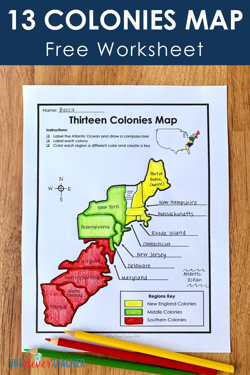 Civil War Map Worksheet 13 Colonies Free Map Worksheet and Lesson for Students