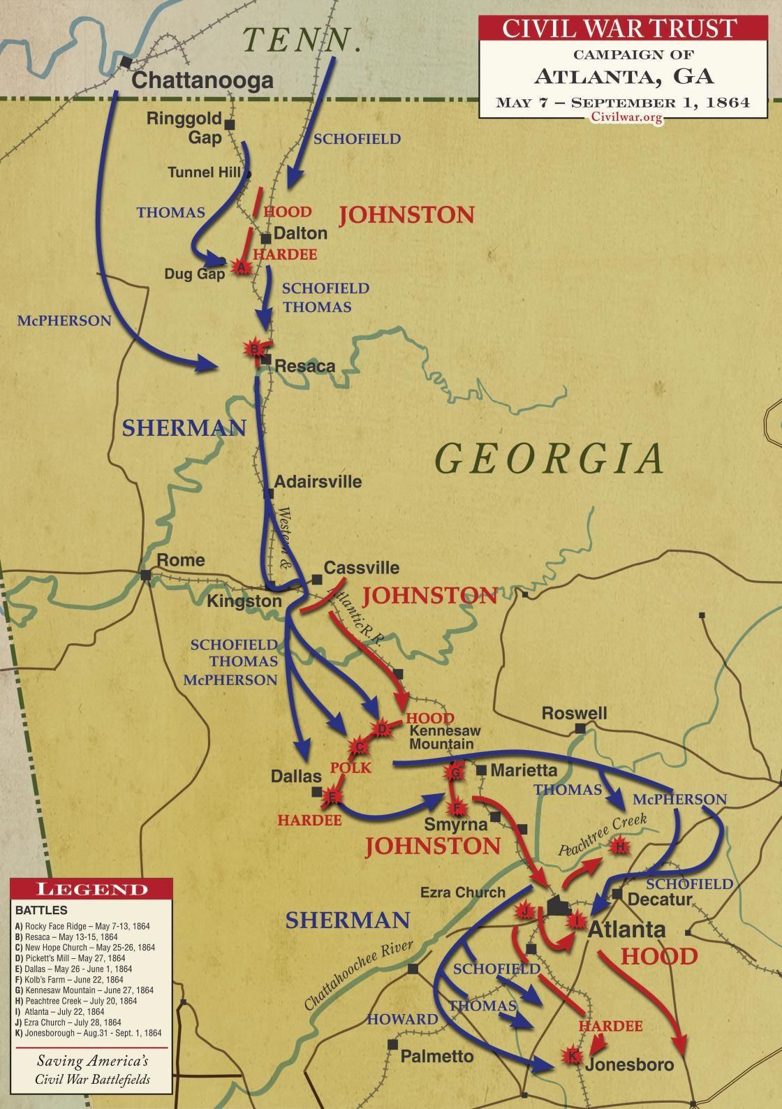Civil War Map Worksheet atlanta Campaign