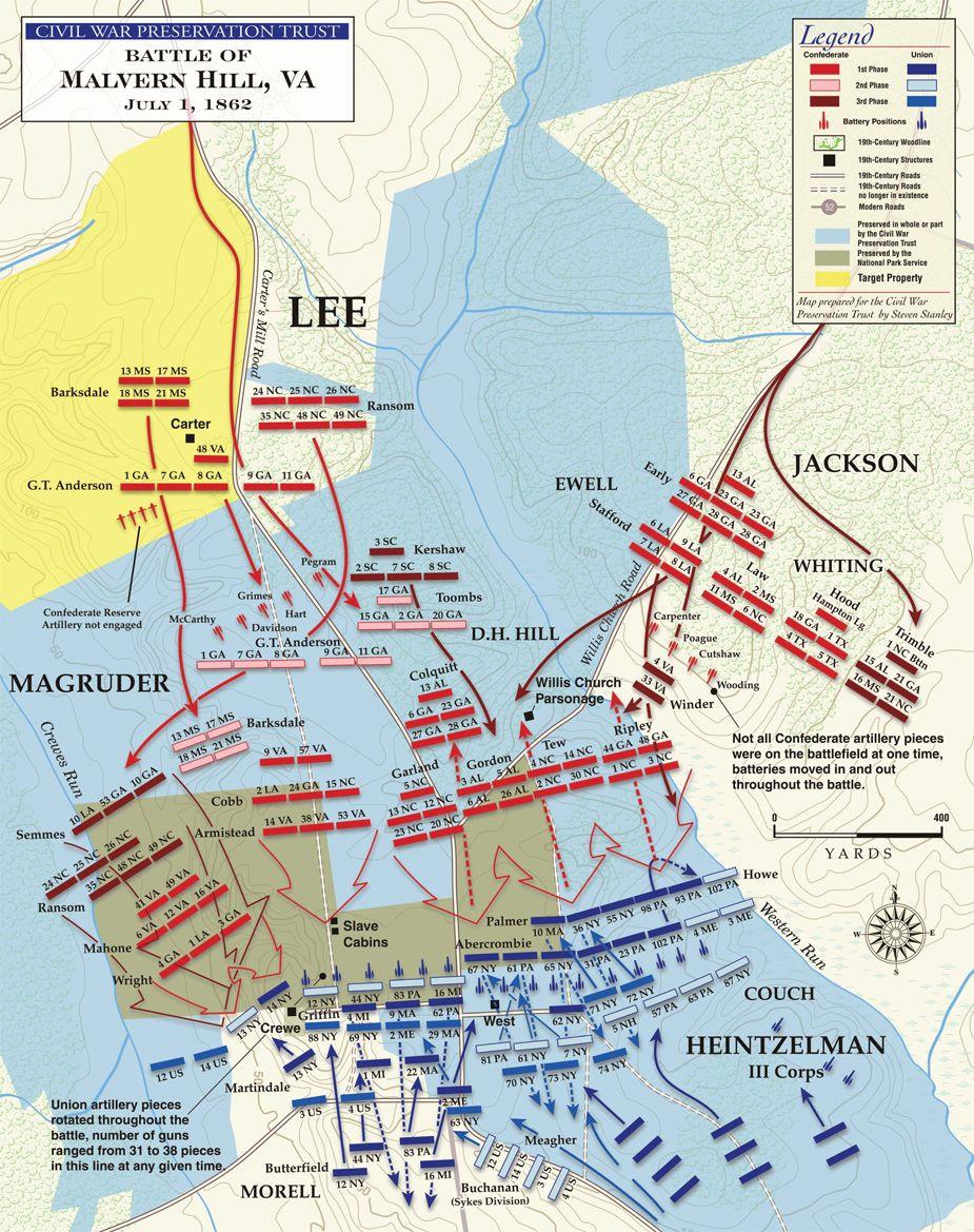 Civil War Map Worksheet Battle Of Malvern Hill Map Massed Artillery Destroys