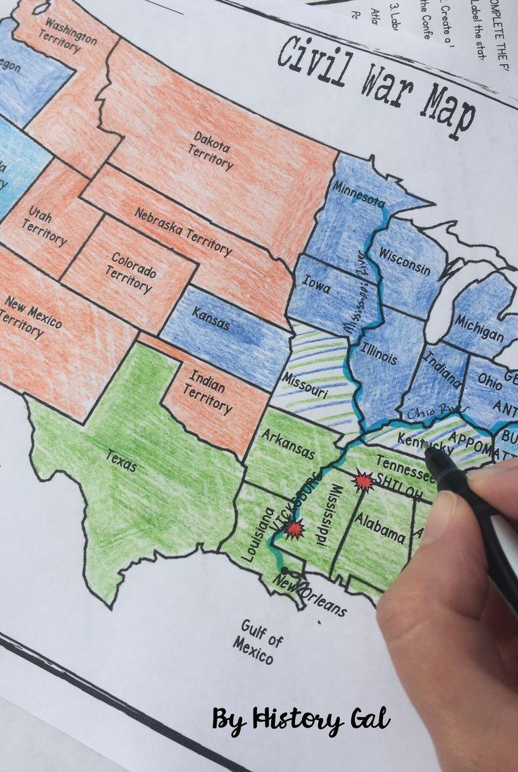 Civil War Map Worksheet Civil War Map Activity