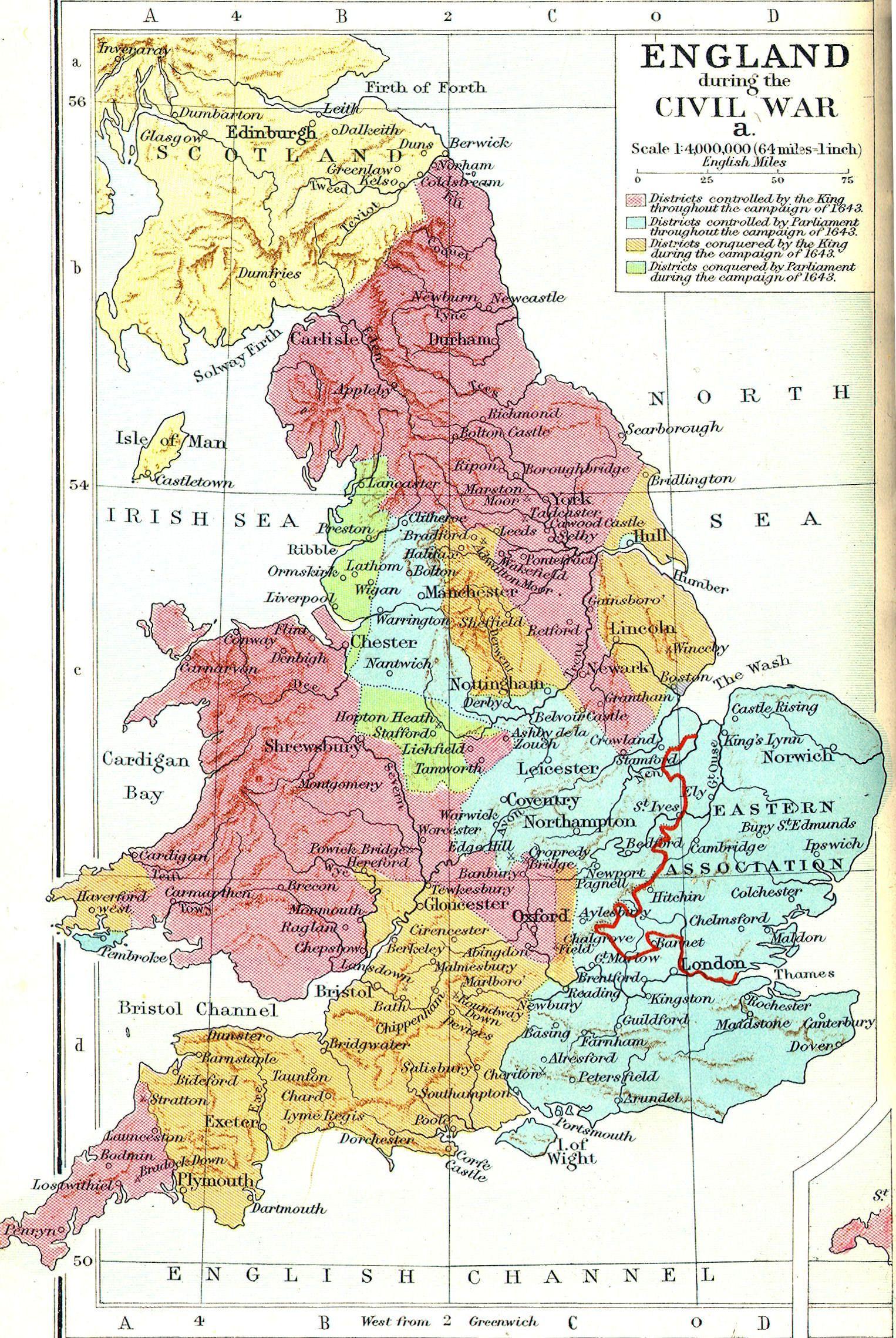 Civil War Map Worksheet England During the English Civil War