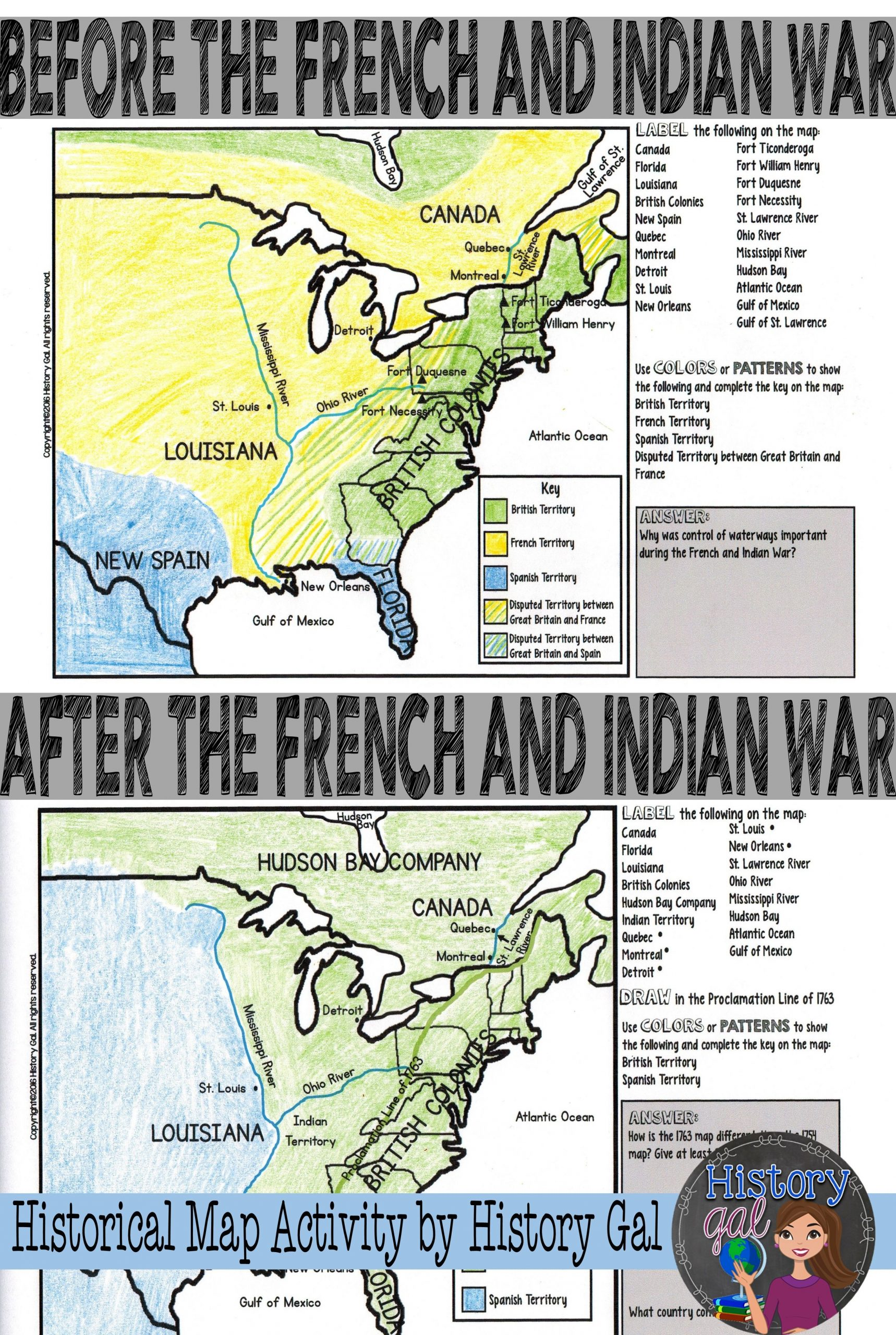 Civil War Map Worksheet This French and Indian War Map Activity Will Help Students