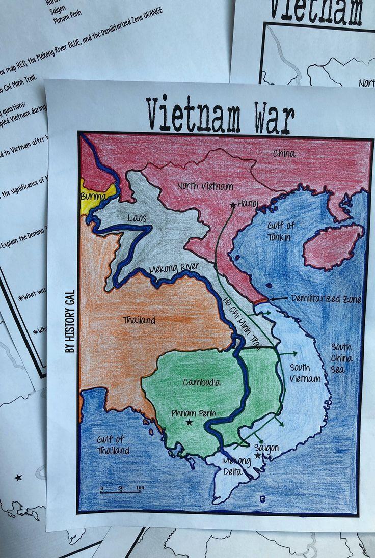 Civil War Map Worksheet Vietnam War Map Activity