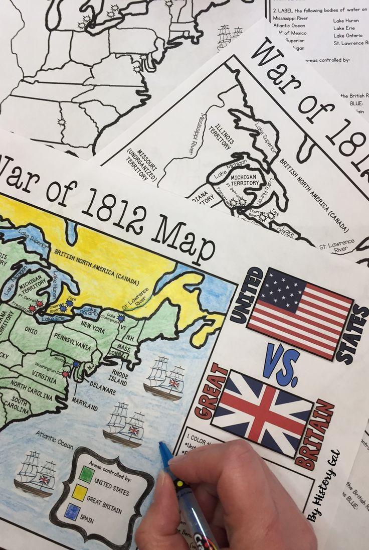 Civil War Map Worksheet War Of 1812 Map Activity