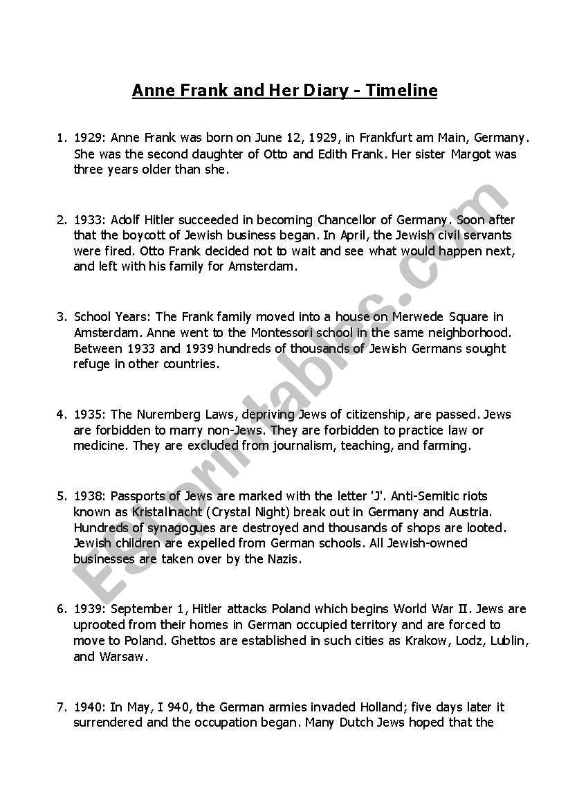 Civil War Timeline Worksheet Anne Frank Timeline Activity Esl Worksheet by Gosia Knupp