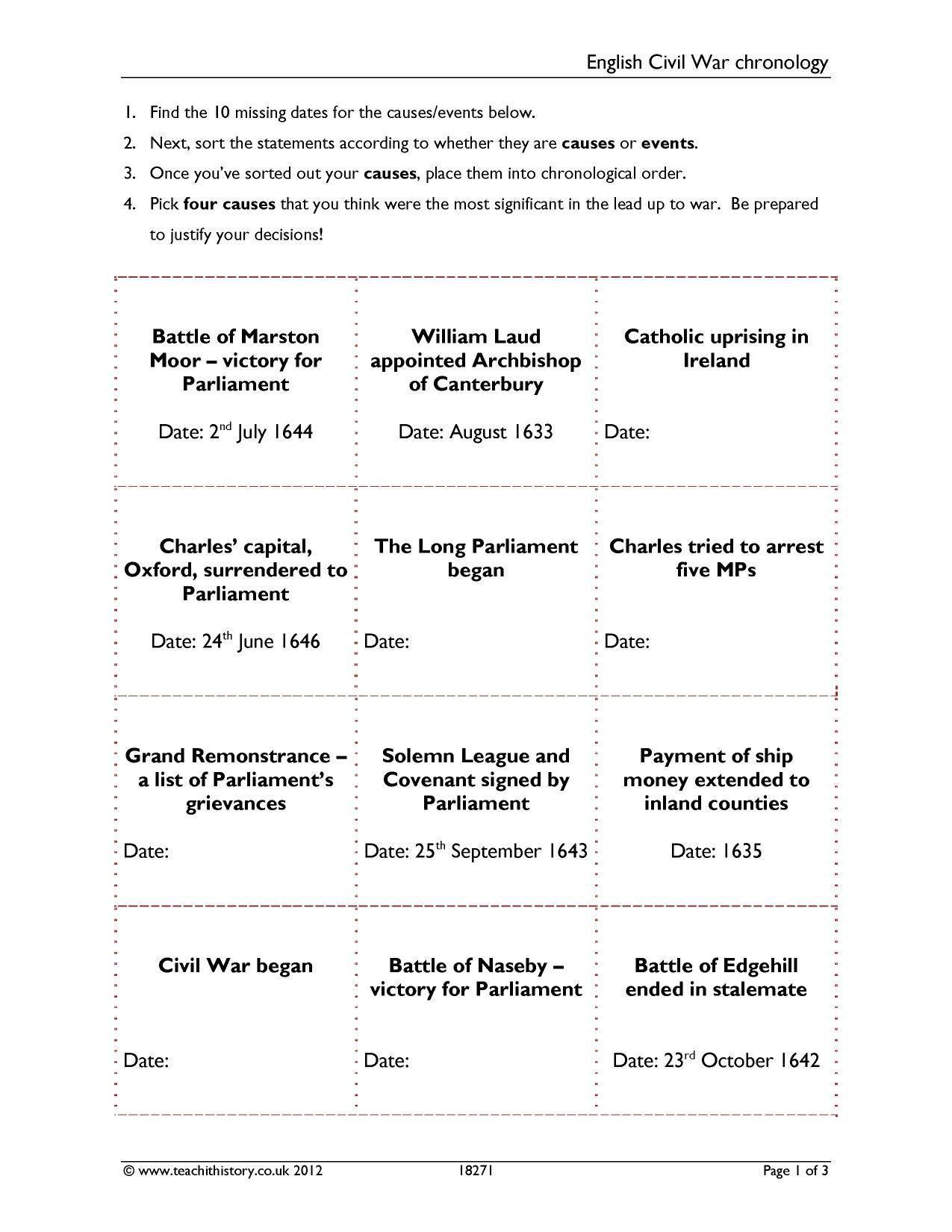 Civil War Timeline Worksheet Ks3 the English Civil War