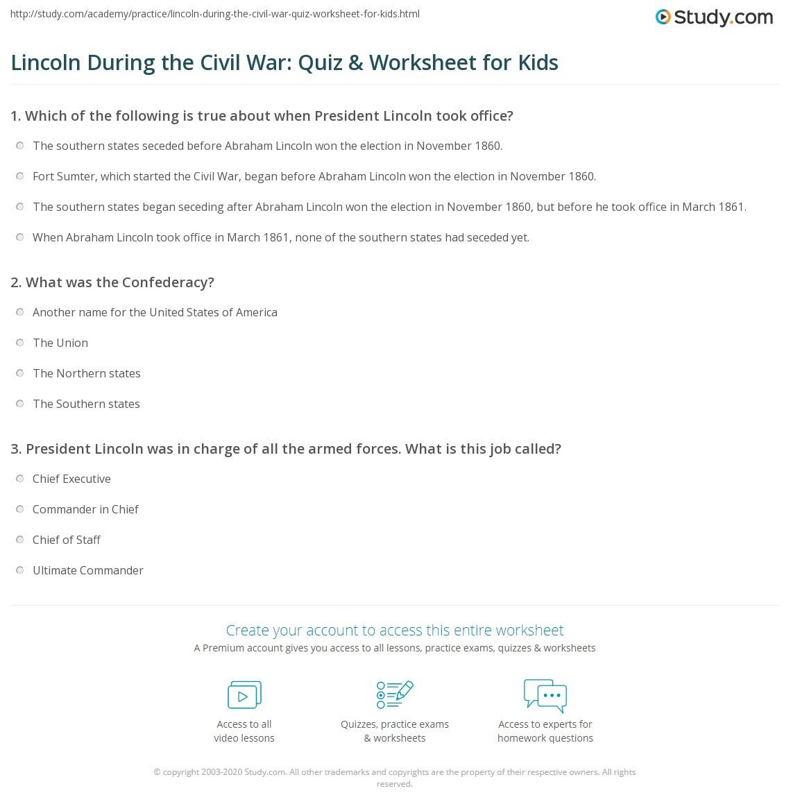 Civil War Timeline Worksheet Lincoln During the Civil War Quiz & Worksheet for Kids