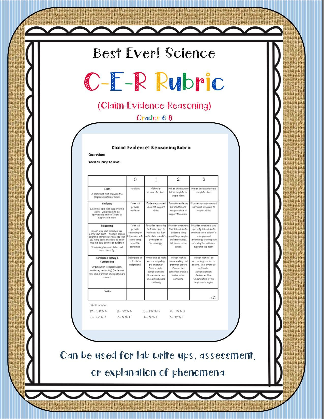 Claim Evidence Reasoning Science Worksheet Best Science Cer Rubric Ever Editable Page Included