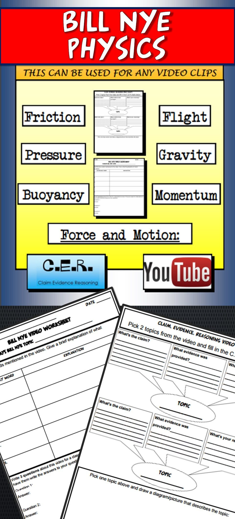 Claim Evidence Reasoning Science Worksheet Bill Nye Physics Video Template and Claim Evidence Reasoning