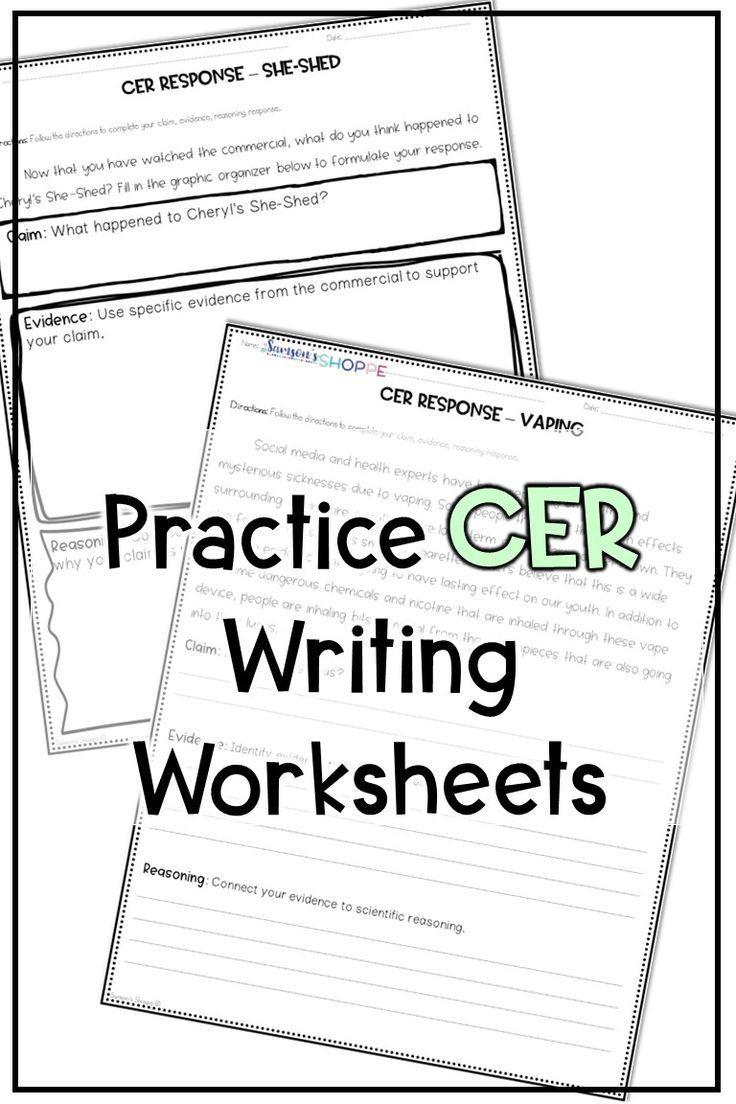 Claim Evidence Reasoning Science Worksheet Cer Claim Evidence Reasoning Practice