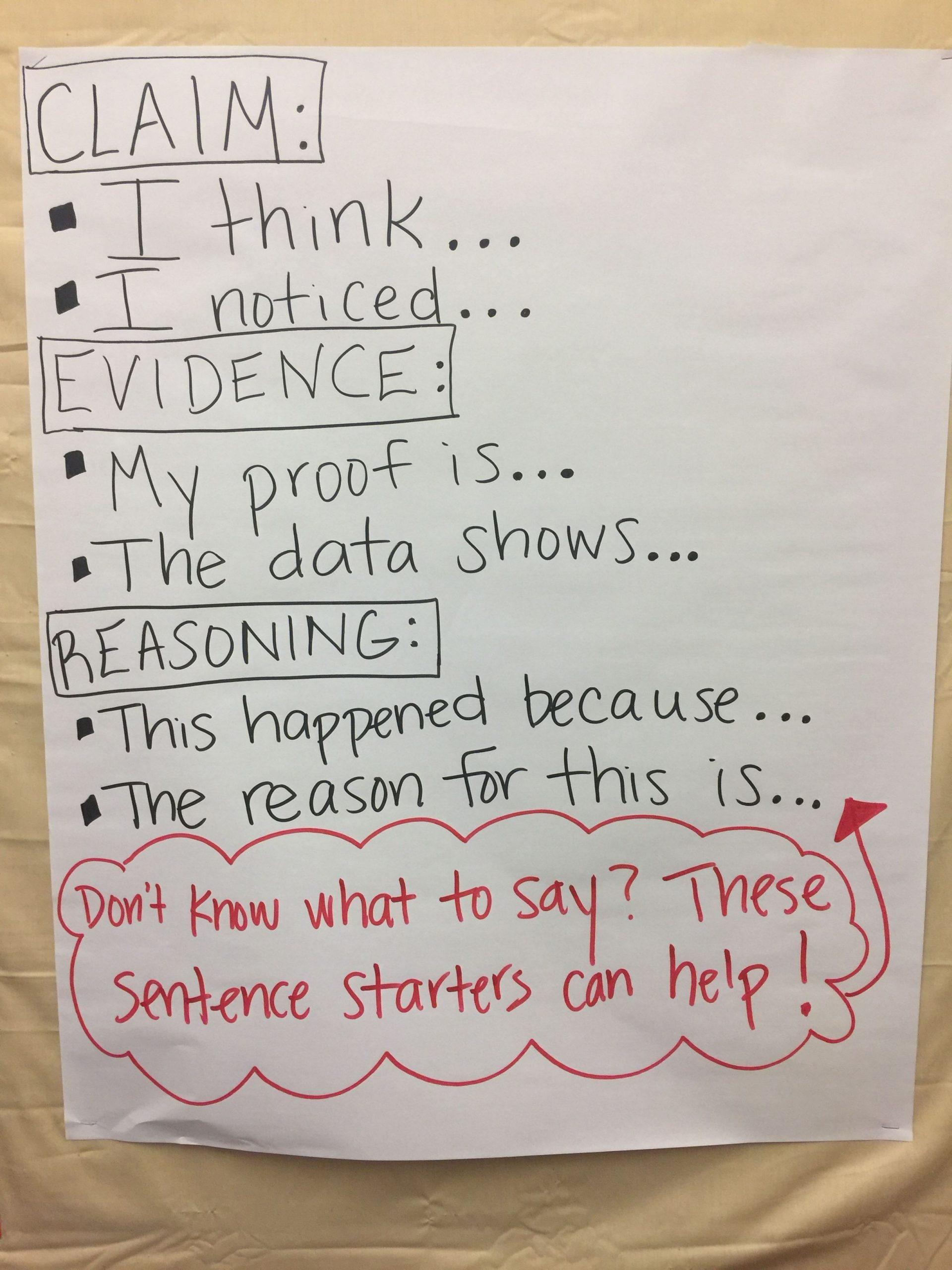 Claim Evidence Reasoning Science Worksheet Claim Evidence Reasoning Sentence Stems Anchor Chart