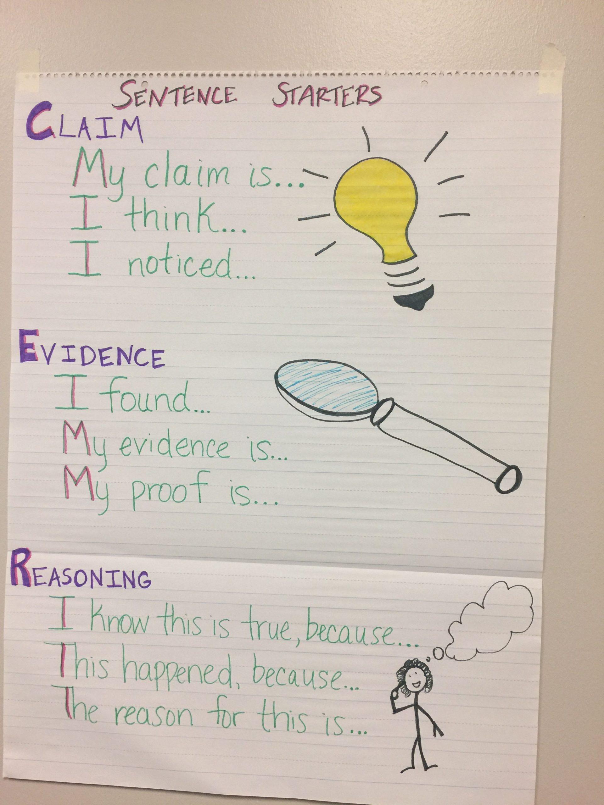 Claim Evidence Reasoning Science Worksheet Claim Evidence Reasoning Sentence Stems
