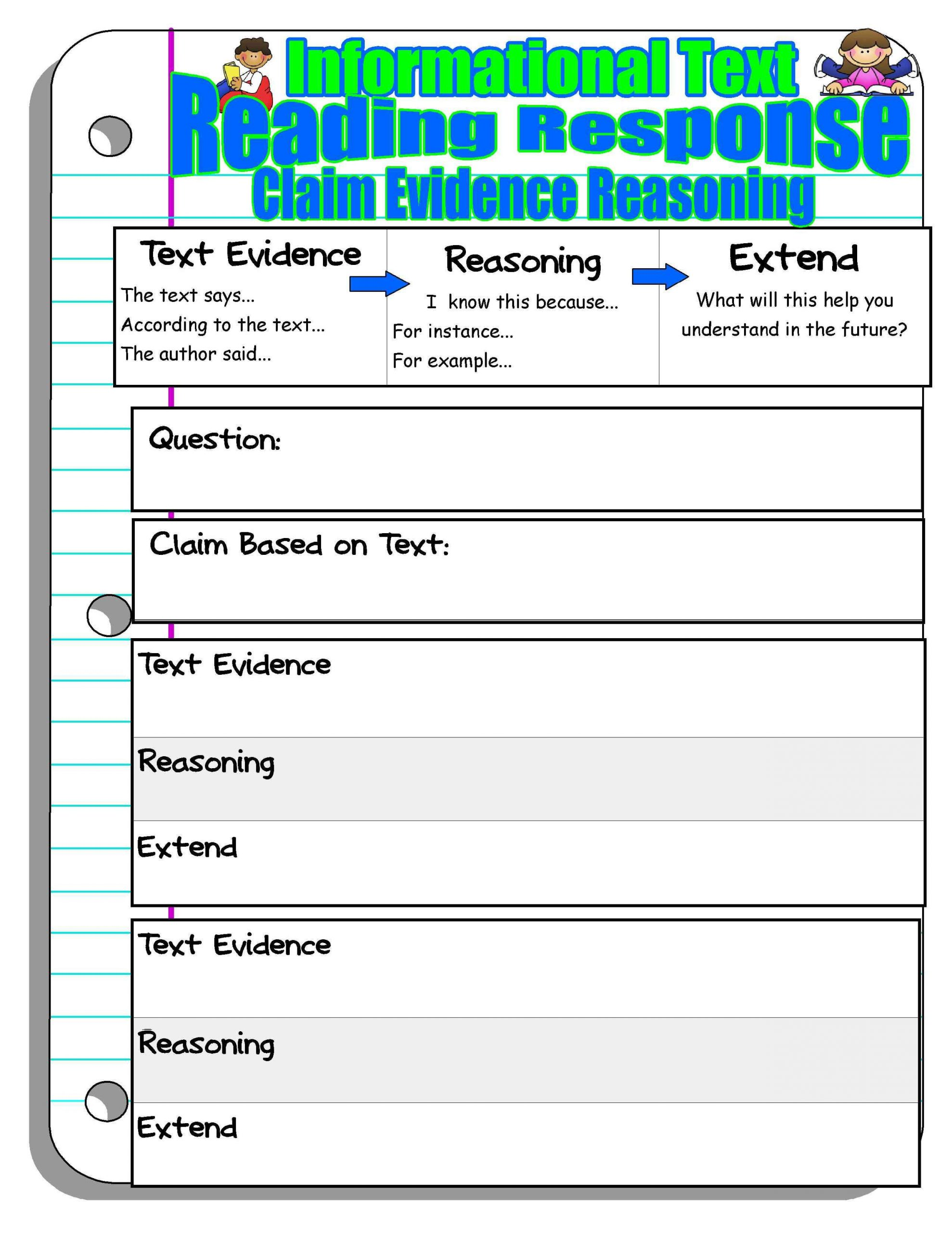 claim evidence reasoning reading response reading pinterest