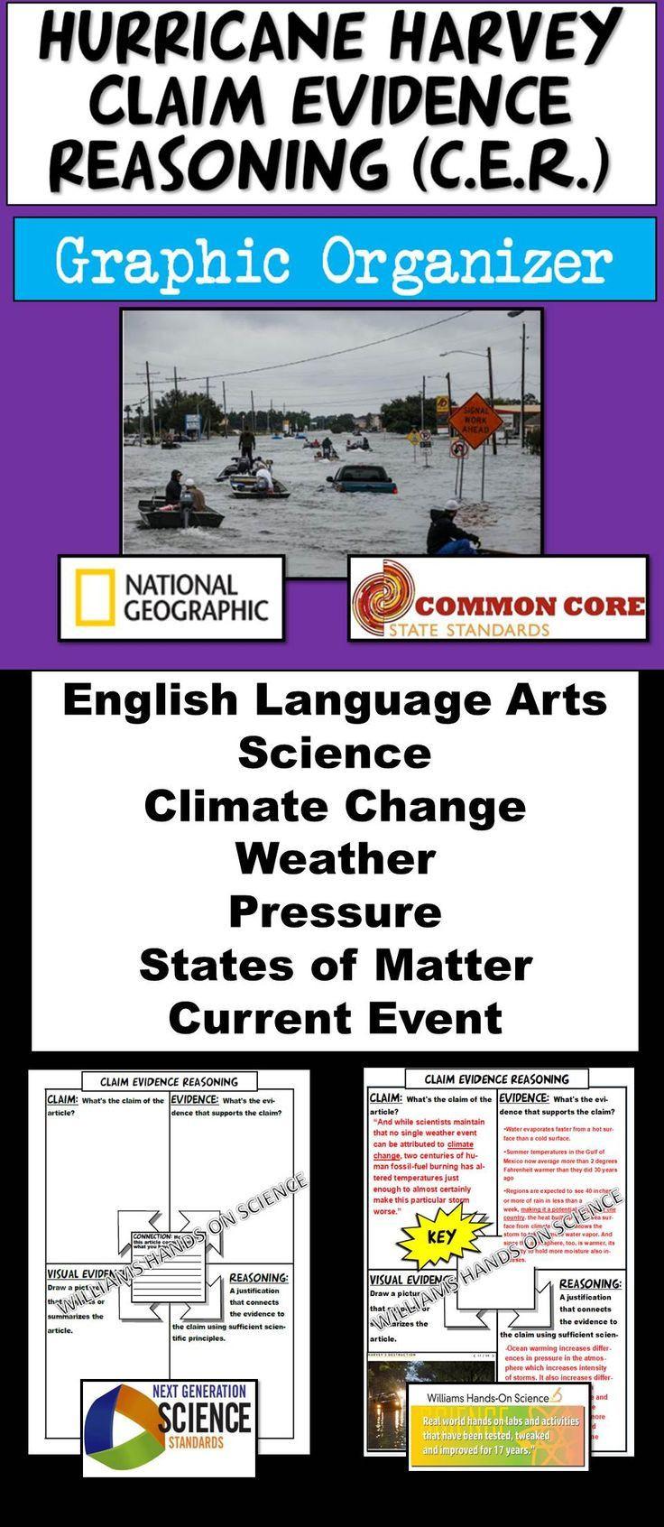 Claim Evidence Reasoning Science Worksheet Hurricane Harvey Claim Evidence Reasoning Graphic organizer