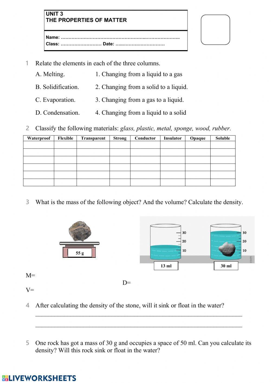 Classifying Matter Worksheet Answer Key Matter and Materials Test Interactive Worksheet