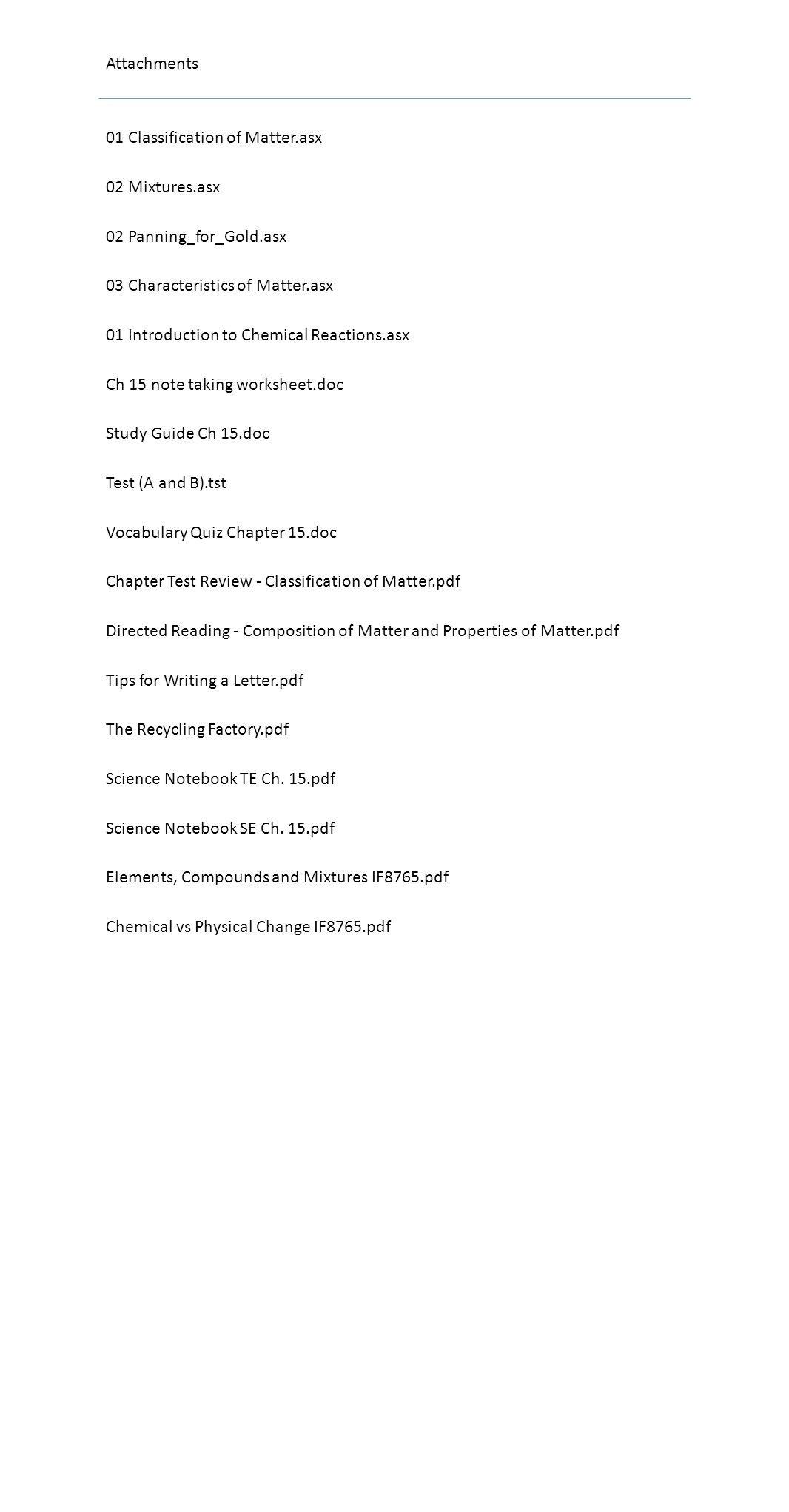 Classifying Matter Worksheet Answer Key Note Taking Worksheet Classification Matter