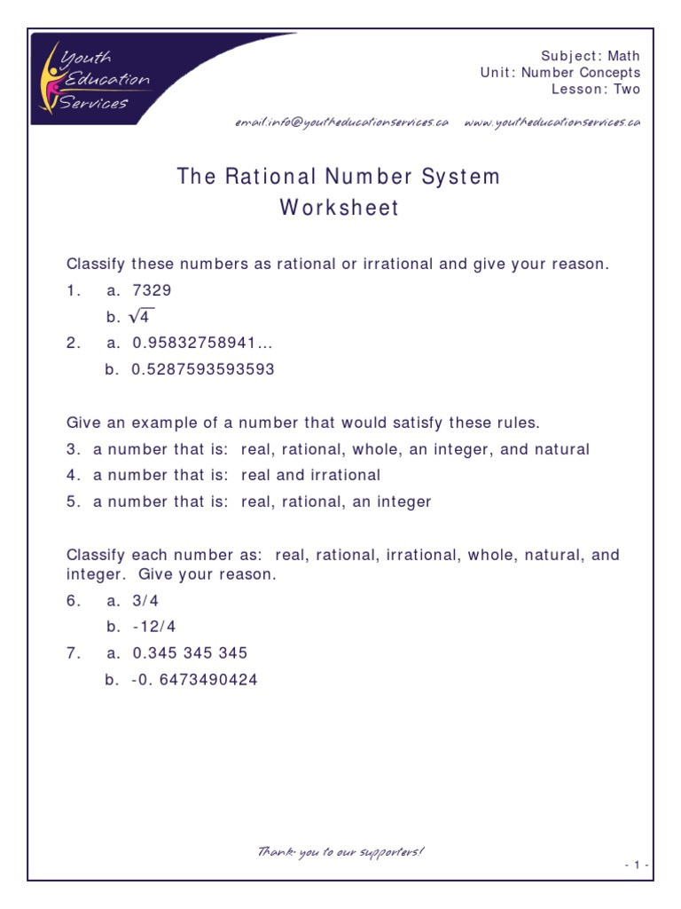 Classifying Real Numbers Worksheet Rational & Irrational Numbers Number System
