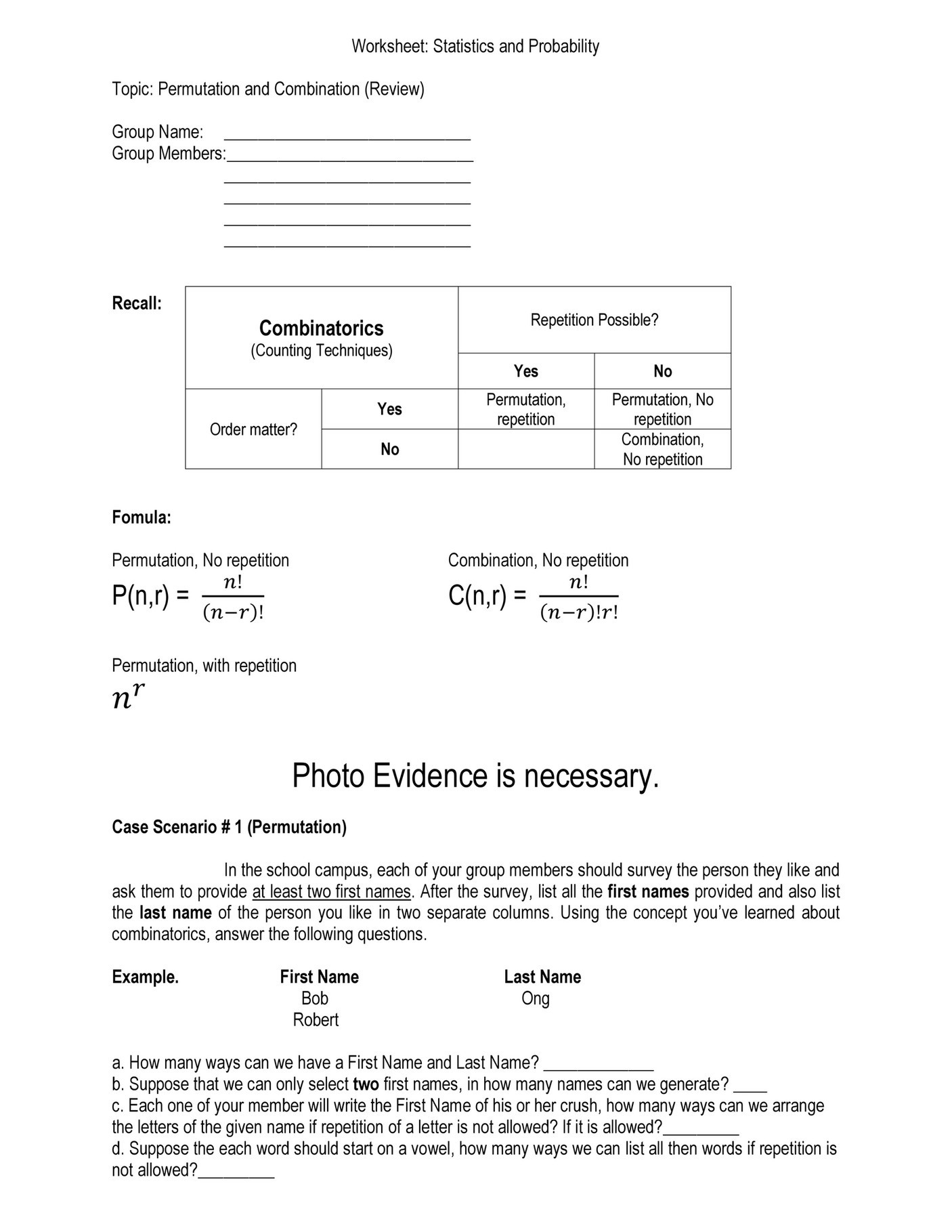 Combinations and Permutations Worksheet My Publications Permutation and Bination Page 1