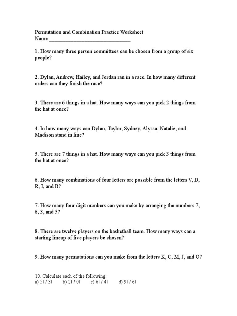 Combinations and Permutations Worksheet Permutation and Bination Practice Worksheet