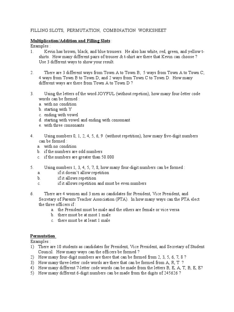 Combinations and Permutations Worksheet Permutations and Binations Worksheet with Answers Doc