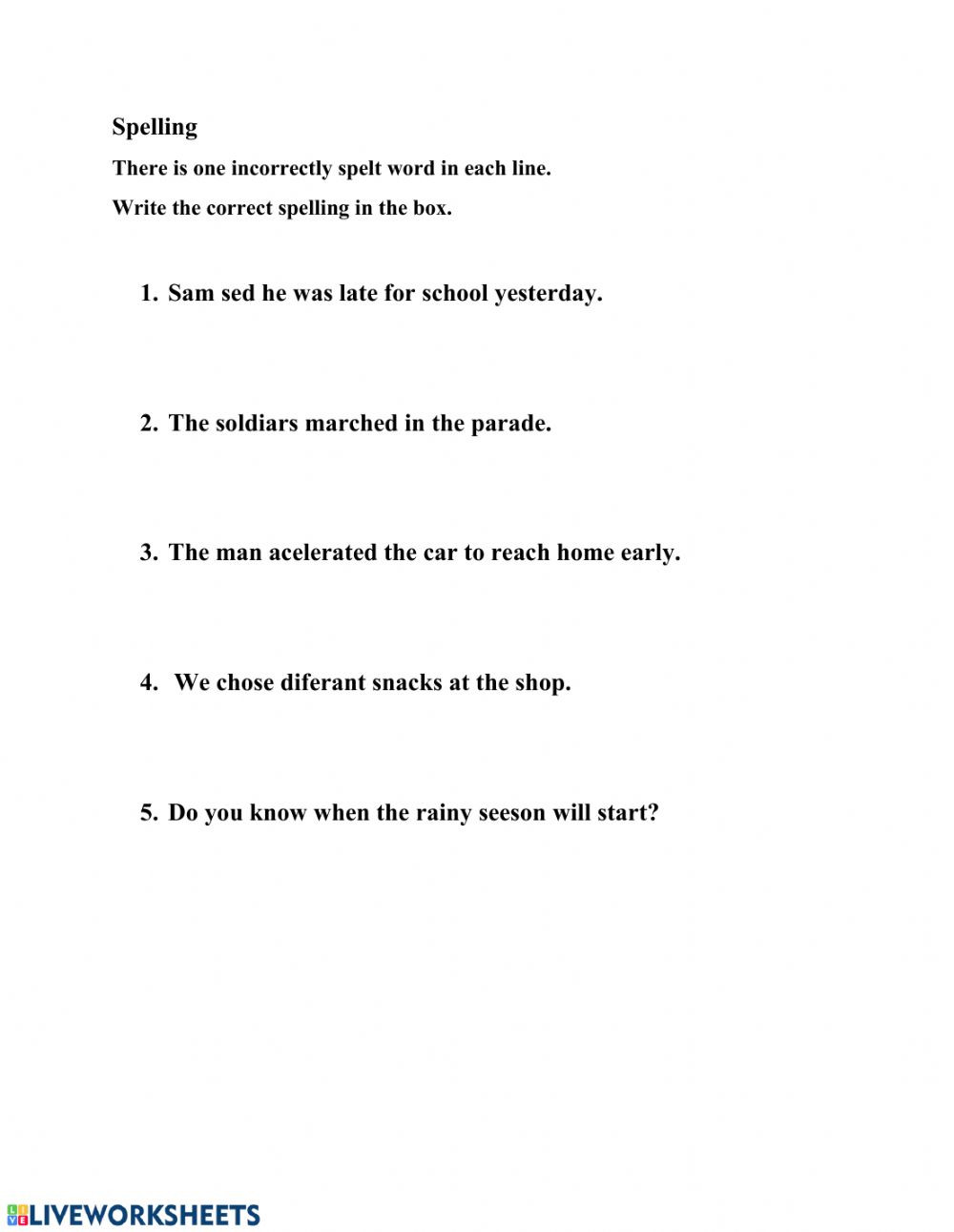 Commonly Misspelled Words Worksheet Spelling Interactive Worksheet