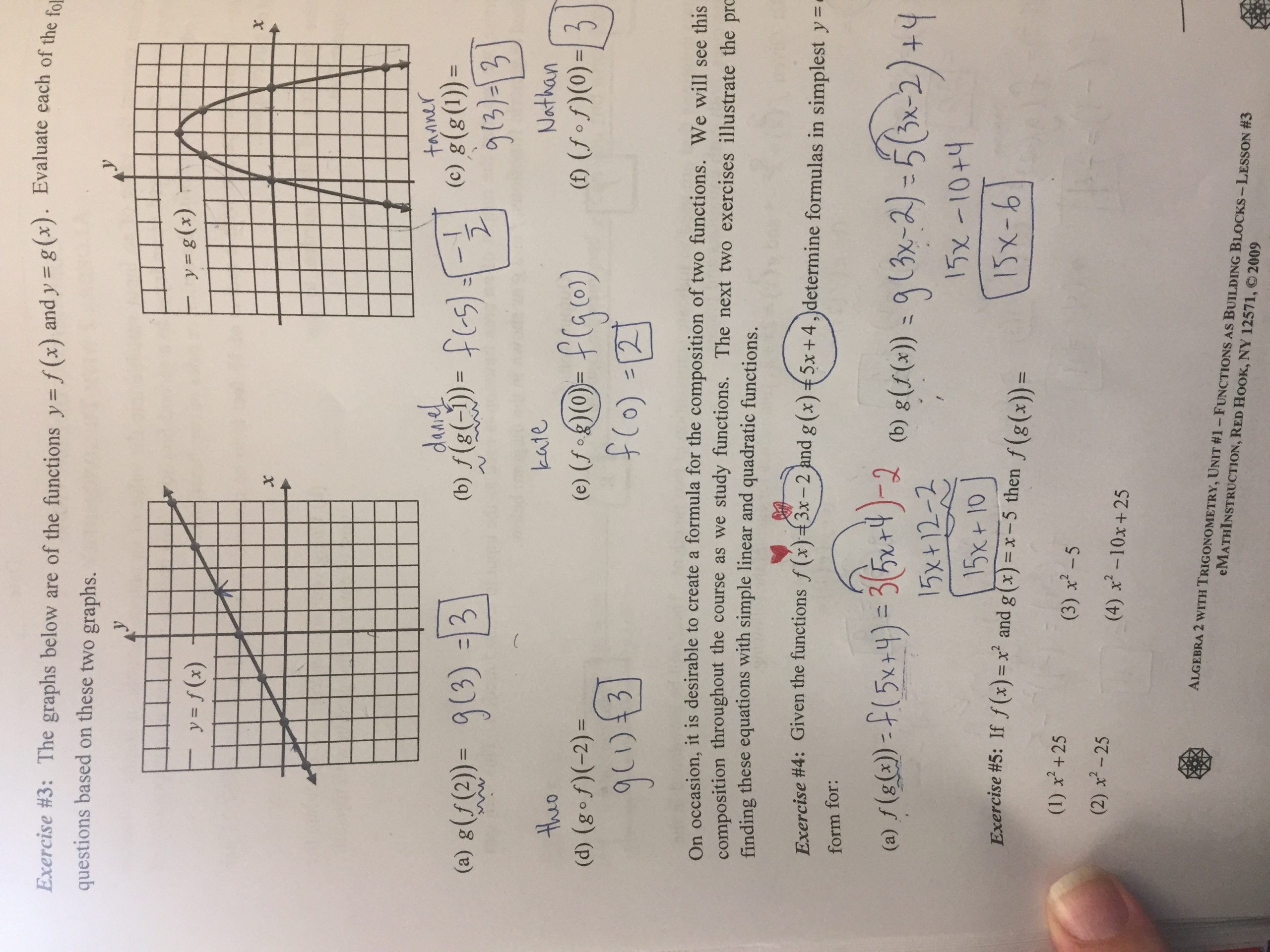 Composite Function Worksheet Answer Key Unit 1 Functions Lizzy S Classroom