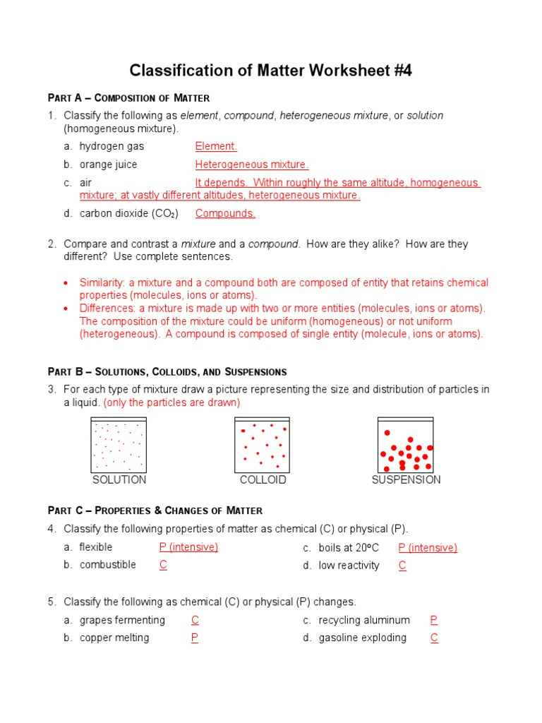 Composition Of Matter Worksheet Answers Classification Of Matters Worksheet 4 Answersc