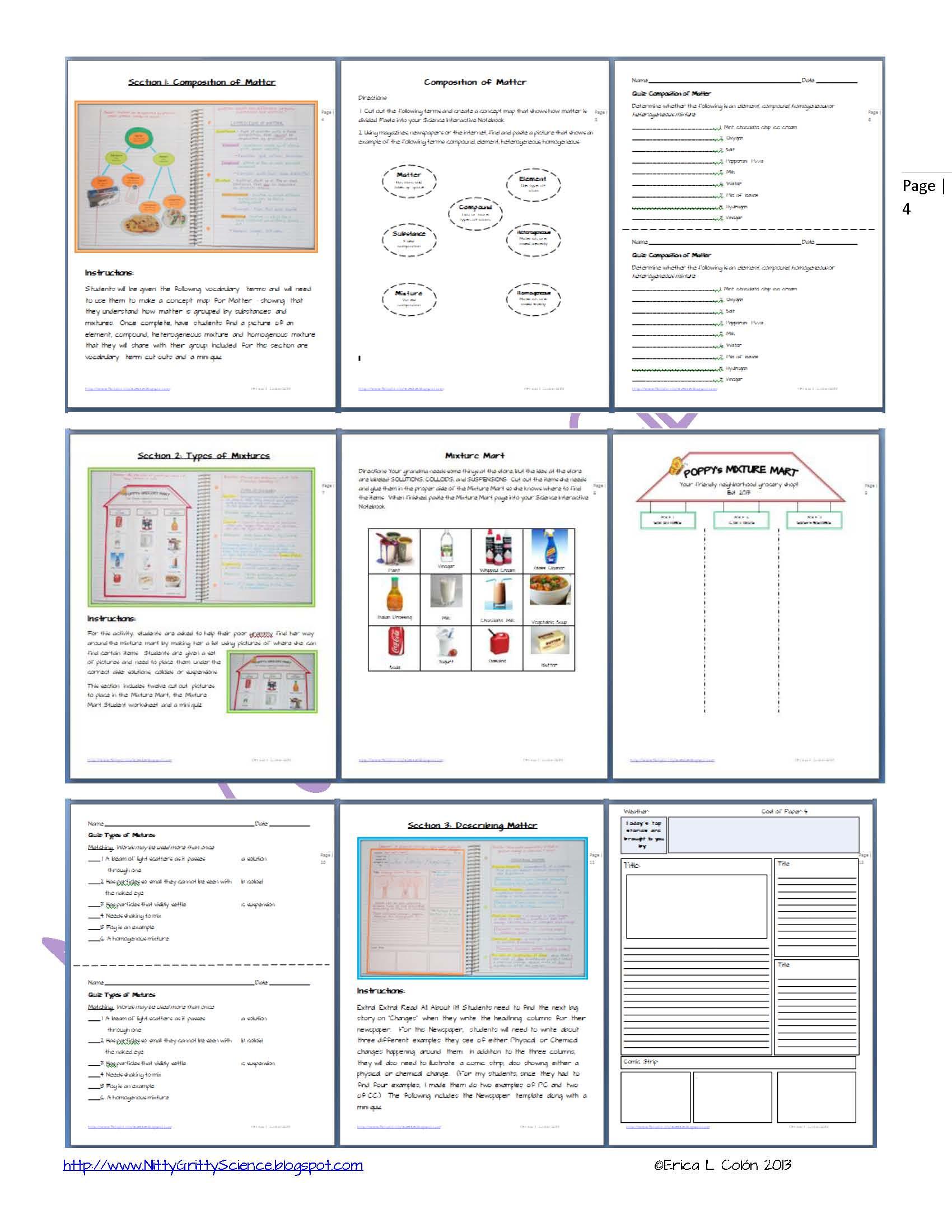 Composition Of Matter Worksheet Answers Matter
