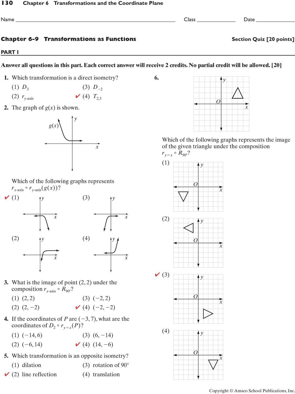Composition Of Transformations Worksheet 116 Chapter 6 Transformations and the Coordinate Plane Pdf