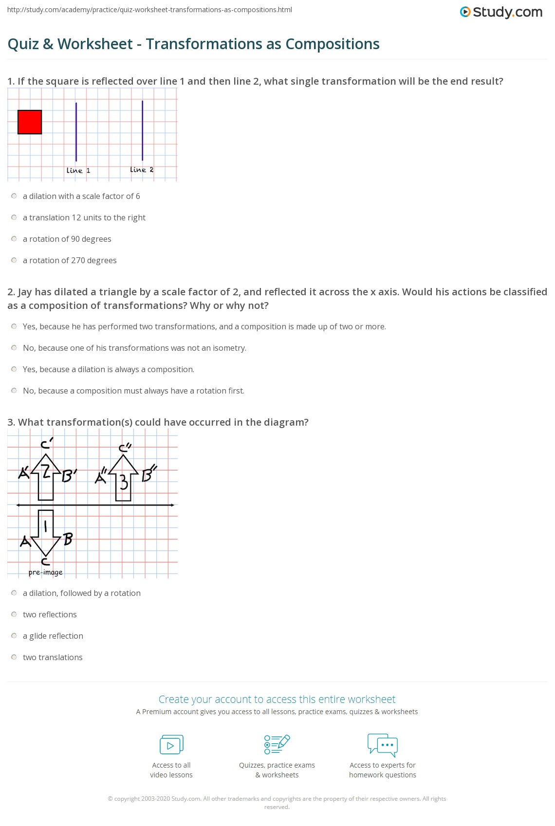 quiz worksheet transformations as positions