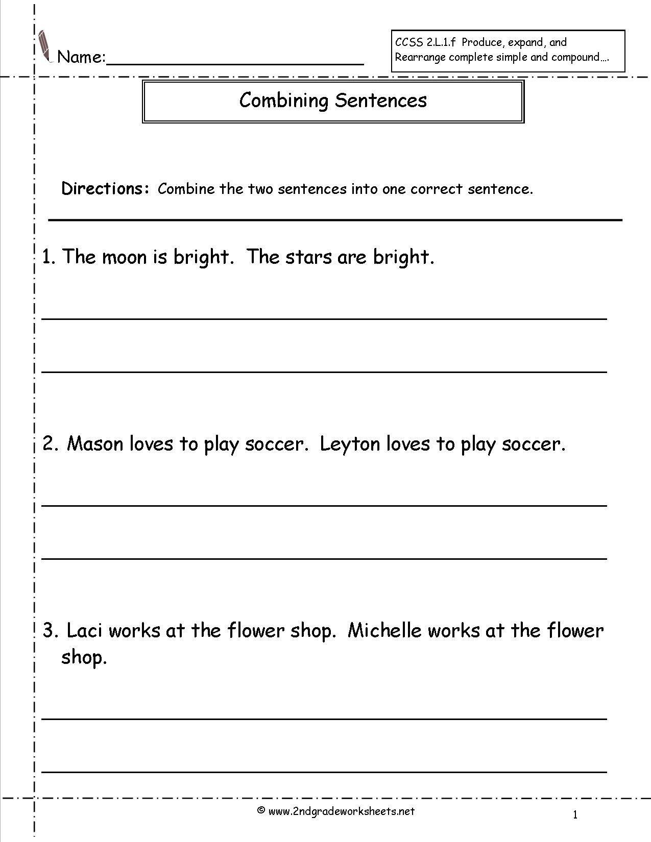 Compound and Complex Sentences Worksheet Bining Sentences Worksheet
