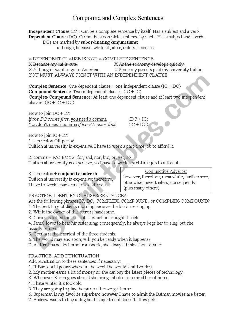 Compound and Complex Sentences Worksheet Clauses and Plex Pound Sentences Practice Esl