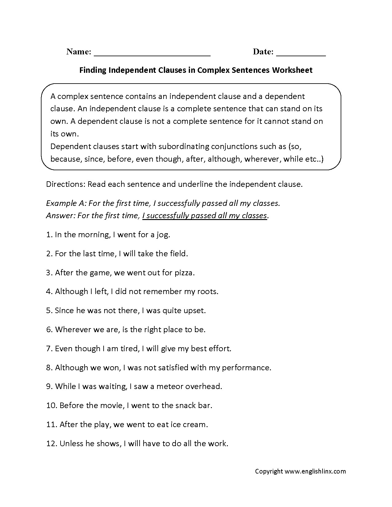 Compound and Complex Sentences Worksheet Creating Plex Sentences Worksheet