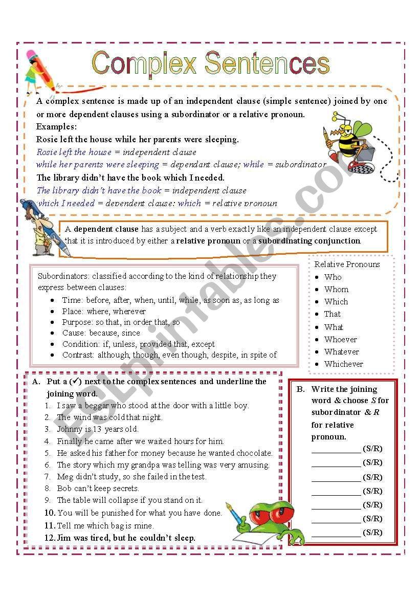 Compound and Complex Sentences Worksheet Plex Sentences with Subordinators and Relative Pronouns