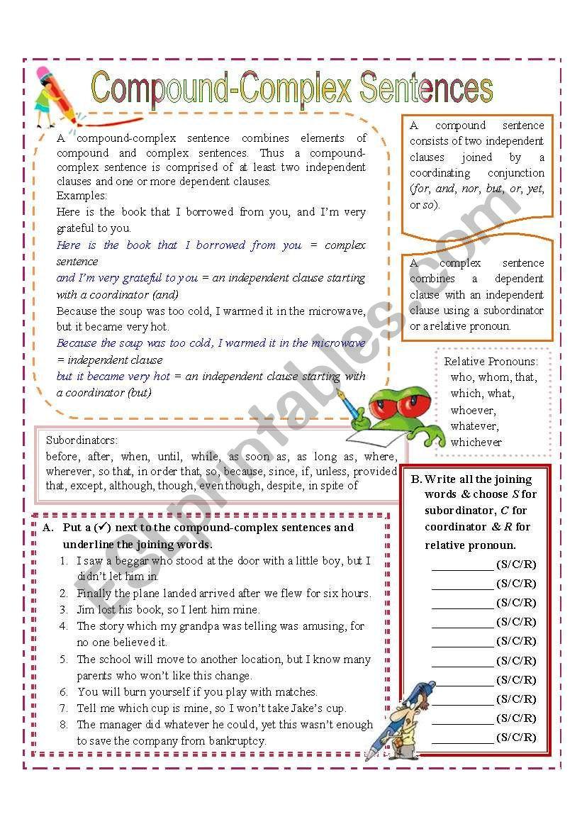 Compound and Complex Sentences Worksheet Pound Plex Sentences Esl Worksheet by Missola